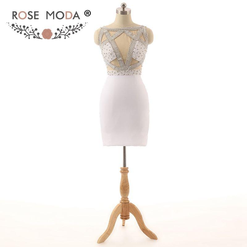 da2a5203a01d9 Rose Moda White Short Cocktail Dress Cut Out Back Crystal Cocktail Dresses  Reflective Dresses 2019