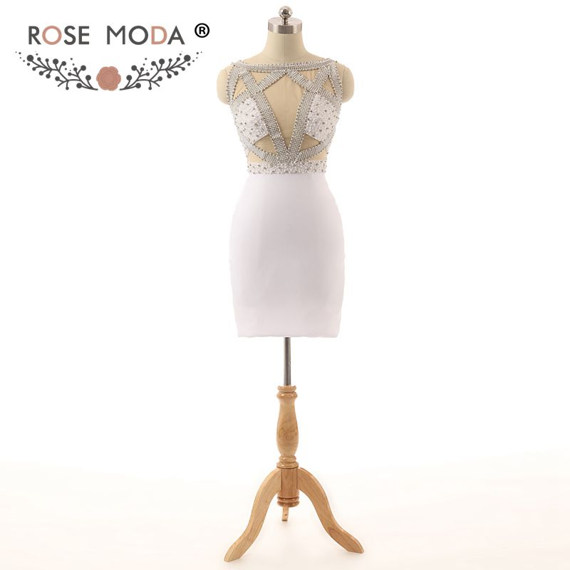 Rose Moda White Short   Cocktail     Dress   Cut Out Back Crystal   Cocktail     Dresses   Reflective   Dresses   2019