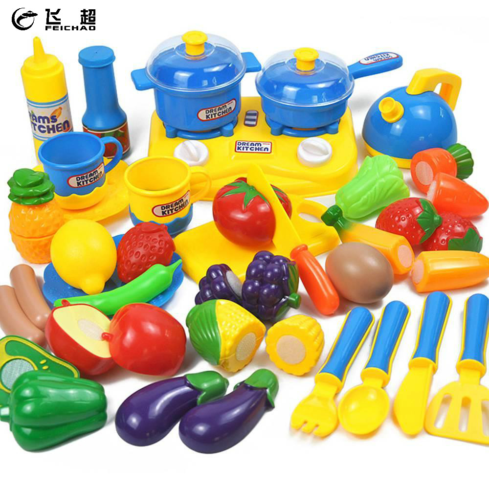 33 Pieces Kitchen Educational Toys Plastic Fruit Vegetables Cutting Toy Cooking Simulation for Kids Girl Boy Pretend Play Game