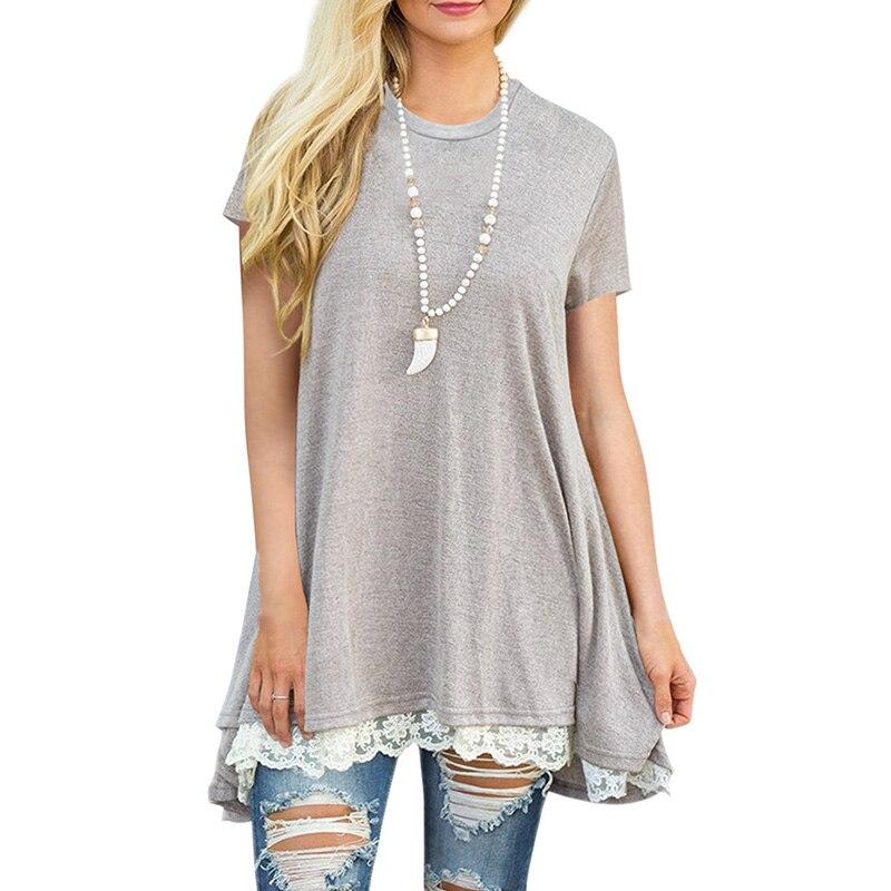 Patchwork Lace Loose Long T Shirt Women Top Tee Shirt Femme 2018 Spring Summer Casual Short Sleeve T-Shirt Female Cotton tshirt