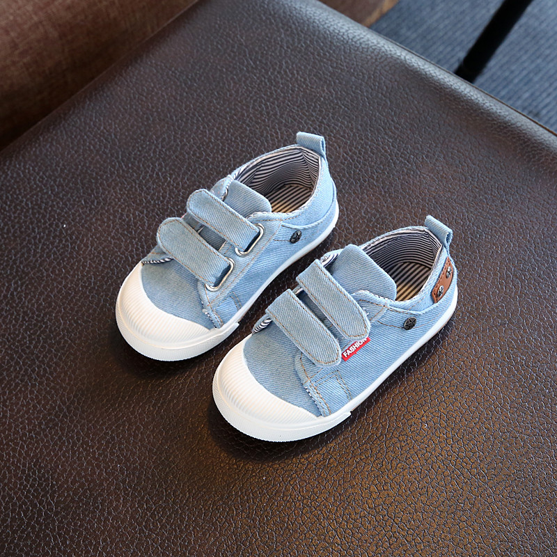 Children Shoes 2017 Spring Boys Girls Shoes Fashion Denim Casual Shoes Solid Flat Breathable Canvas Sport Shoes Kids Sneakers