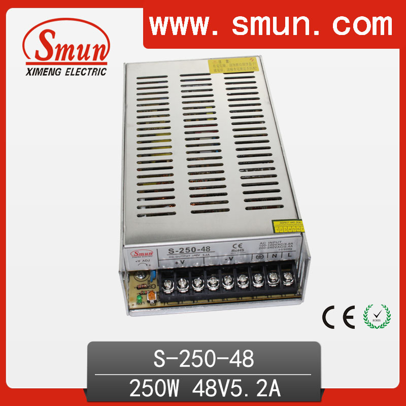 SMUN High Quality and Efficiency 250W 48V 5A Single Output AC/DC Switching Power Supply