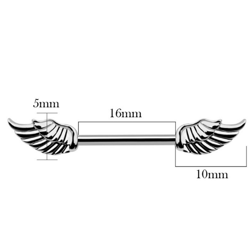 2PCS New Arrival Silver Color Wings Nipple Rings Women Nipple Rings Bar Studs Fashion Stainless Steel Body Piercing Jewelry