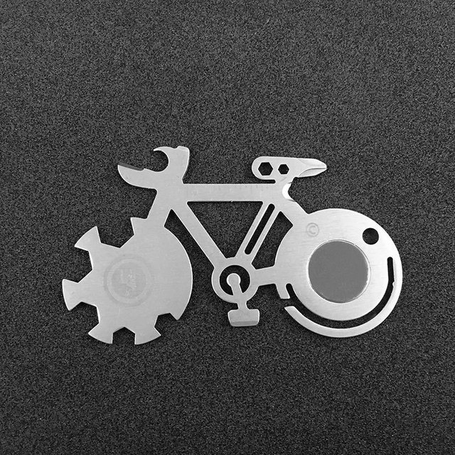 Bicycle Shape MultifunctionTitanium-Plated Appearance Wrench Screwdriver Cycling Camping Outdoor Survival Keychain EDC Tool