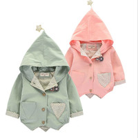 DFXD Toddler Jacket Spring Autumn Kids Long Sleeve Single-breasted Hooded Coat Little Girls Five-pointed Star Cardigan Outwear