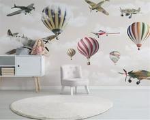 beibehang Custom 3d wallpaper mural cartoon airplane hot air balloon sky children room background wall papel tapiz