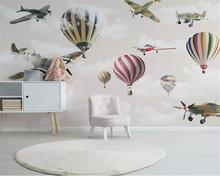 Купить с кэшбэком beibehang Custom 3d wallpaper mural cartoon airplane hot air balloon sky children room background wall wallpaper 3d papel tapiz