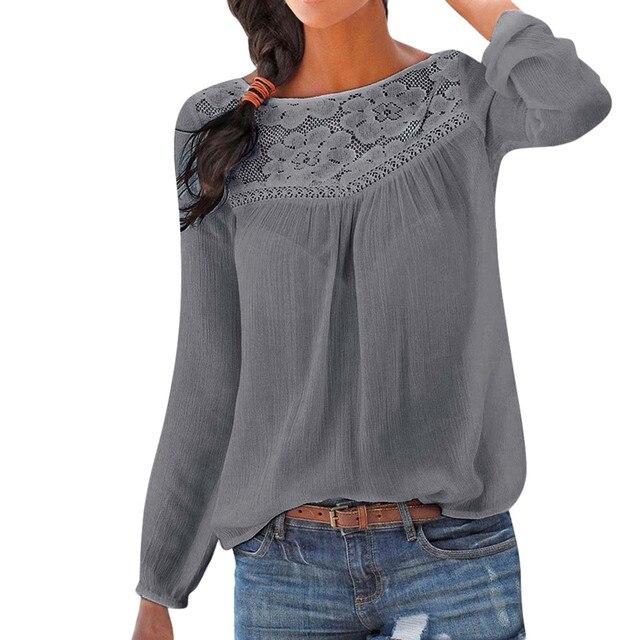 c8c2270dba40 Camisa de renda Patchwork Mulheres Casual manga Comprida Tops Blusa Cor  Sólida tamanho Grande Ladies Solto