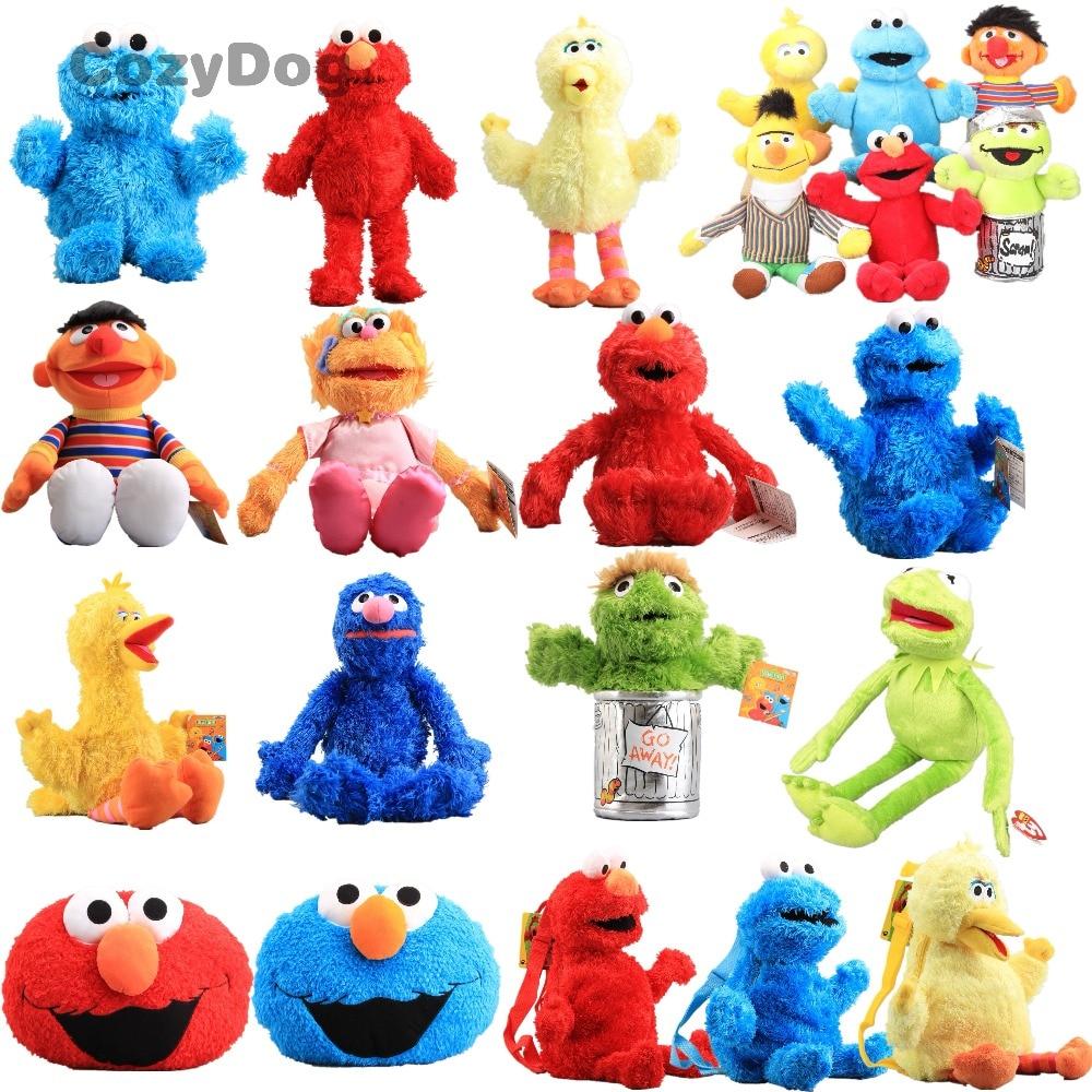 Anime Sesame Street Figure Plush Dolls Soft Stuffed Animal Elmo Cookie Monster Big Bird Backpack Pendant