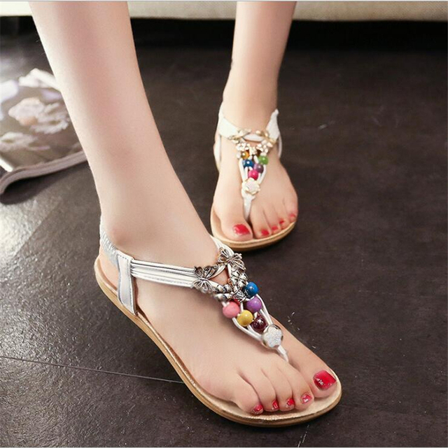 POADISFOO 2017 New fashion bohemian style summer  Multicolor Beads sandals  comfy  women's  flat with Open S For Women .HYKL-558
