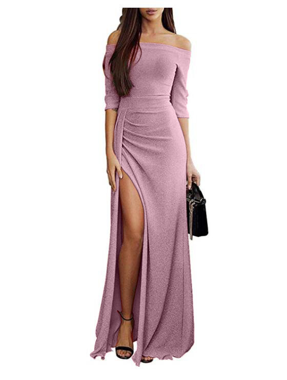 Women s Hip Wrapped Open Necked Dress Girl Night Club Sexy Shiny Dress Slash Neck Ankle