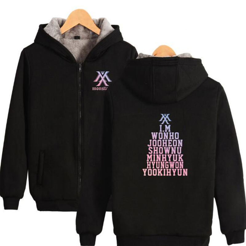 KPOP Monsta x Winter Women Jackets and Coats Korean Fashion K-POP Monstax Warm Thick Zipper Hooded Sweatshirt K-POP Clothes