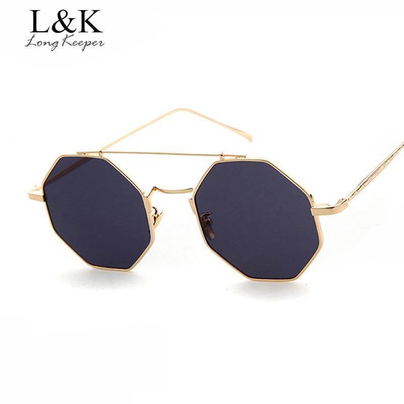 Long Keeper típico Octagon Gafas de sol mujeres doble haz Sol Gafas para  hombres metal Marcos 15fe6c4a2d