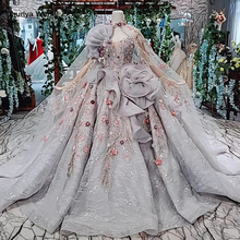 HTL409 grey formal party dress 2019 ball gown strapless applique special evening dresses with long cape kleider damen abendkleid