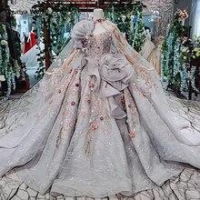 HTL409 grey formal party dress 2020 ball gown strapless applique special evening dresses with long cape kleider damen abendkleid