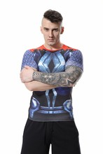 Red Plume Men's Thor Compression Sports T-shirt 3D Raytheon Fitness Short Sleeve