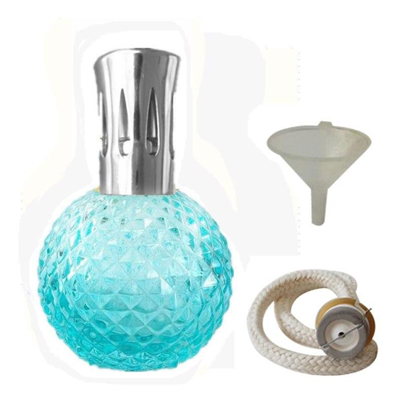 Арома Рид диффузор-100 мл Аромат Эфирное масло лампа стеклянная бутылка с каталитическим благовоний сжигание фитиль и фунель для Aromatherap - Цвет: blue silver