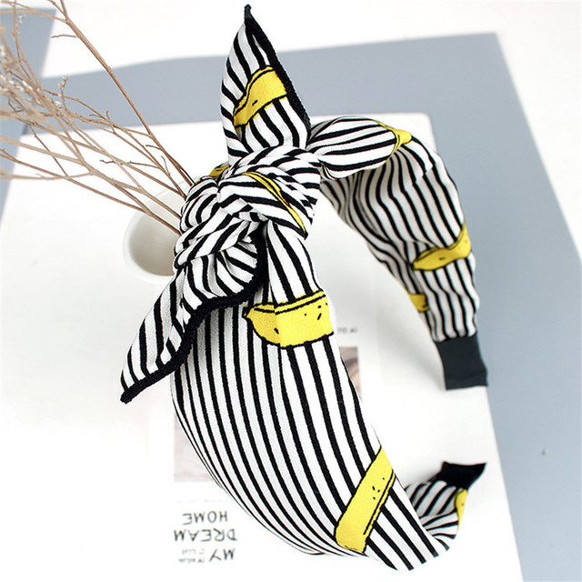 Haimeikang Multi-Style Retro Bowknot Wide Hair Band Headwear Girls Fabric Printing Floral Rabbit Headband Hair Accessories