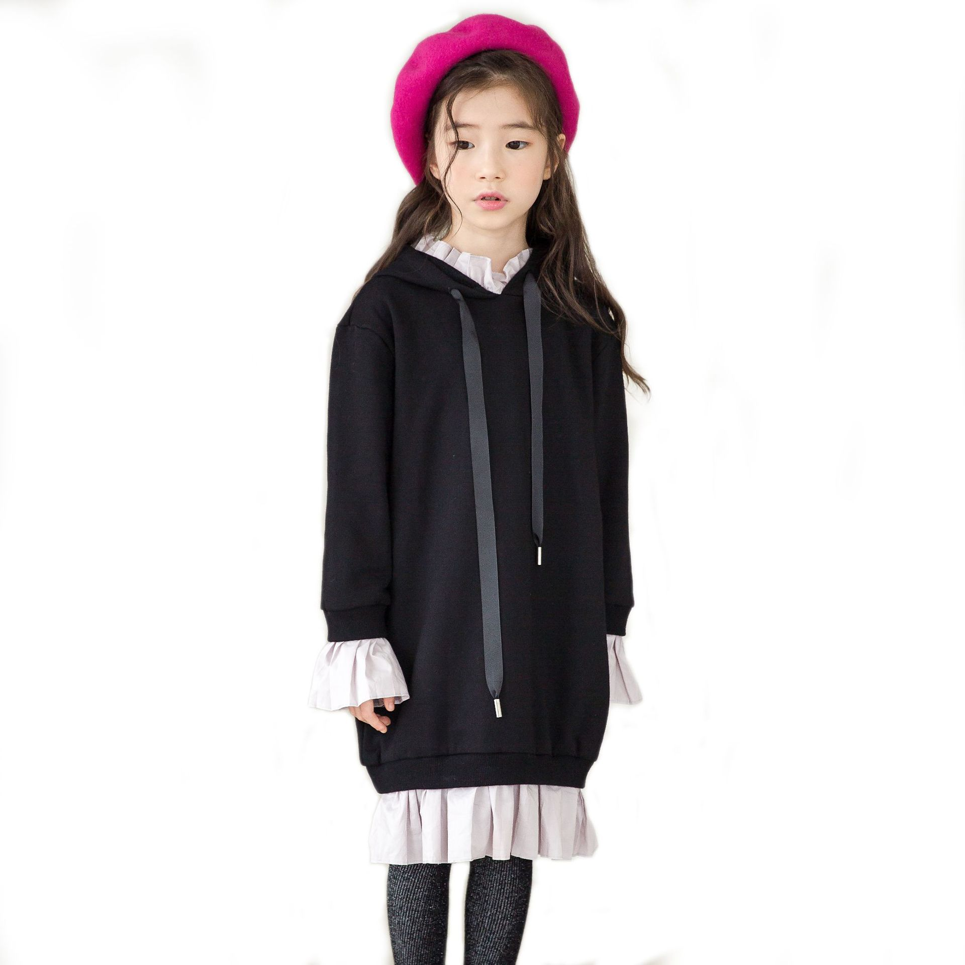 7a41c3f70 Girl Black Hoodie Dress Autumn 2018 New Teens Girls Long Sweatshirts Dresses  Kids Hooded Pullover Dress Casual Children Clothing