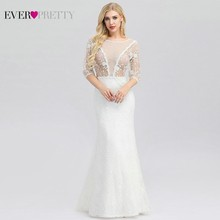Vestido De Noiva Ever Pretty Sexy Wedding Dresses O-Neck Mermaid Lace 3/4 Sleeve Illusion Boho Bride Robe Mariee 2019
