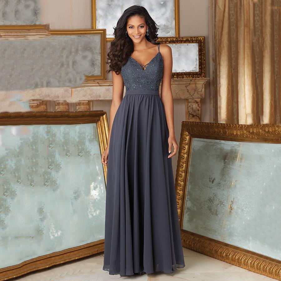 sparkly robe demoiselle d 39 honneur lace crystal vestido madrinha chiffon long charcoal grey gray. Black Bedroom Furniture Sets. Home Design Ideas
