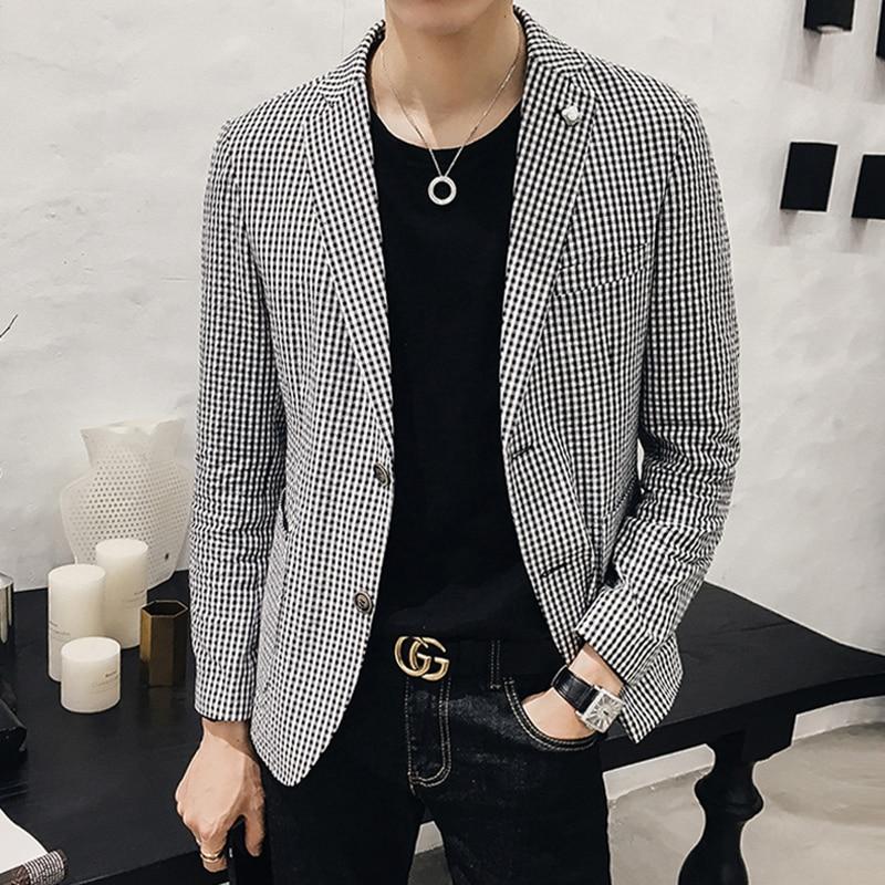 2018 Primavera Nuevo Estilo Coreano Moda Para Hombre Casual Enrejado - Ropa de hombre