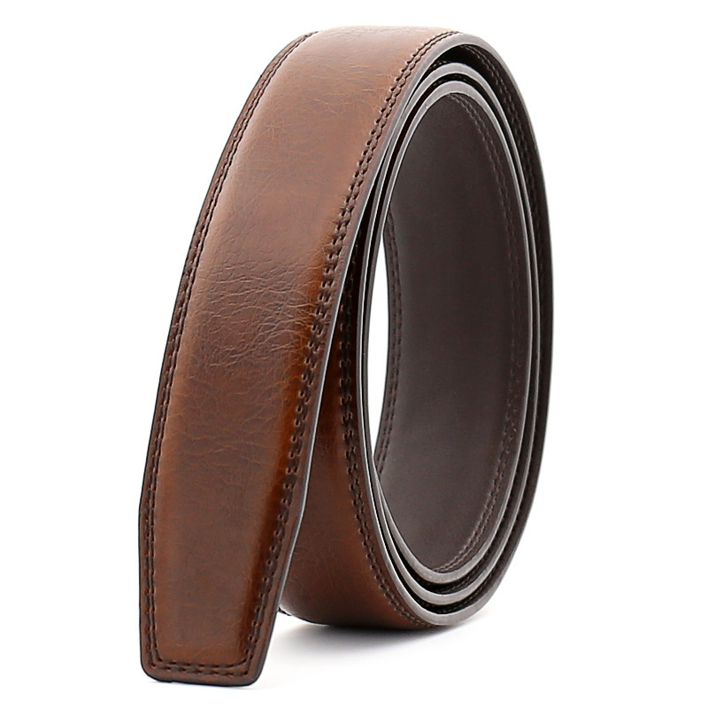 Leather   Belt   Men Without Buckle Hot Sale Men Accessories Genuine Leather Man's   Belt   Strap Blak Brown 110cm-130cm CE122