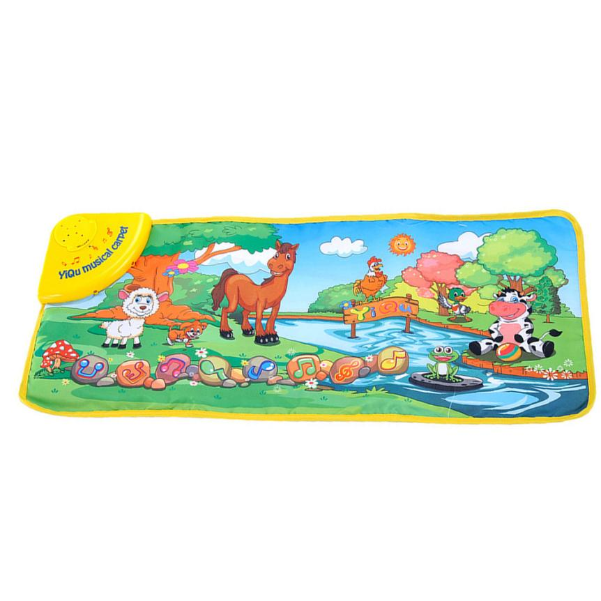 snowshine3 YLI Hot Kids Baby Zoo Animal Musical Touch Play Singing Carpet Mat Toy Table game