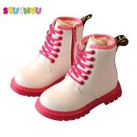 Winter Children Boots Boys Fashion Zipper Plush Shoes For Girls Snow Boots Kids Waterproof Martin Boots