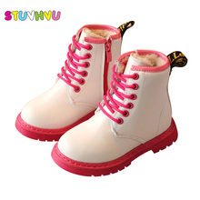 Winter children boots boys fashion zipper plush shoes for girls snow boots kids waterproof martin boots warm kids leather shoes
