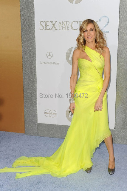 2017 Sarah Jessica Parker Dresses Celebrity Party Dresses Red Carpet Dress One Shoulder Yellow Prom Gowns with Sweep Train CE002