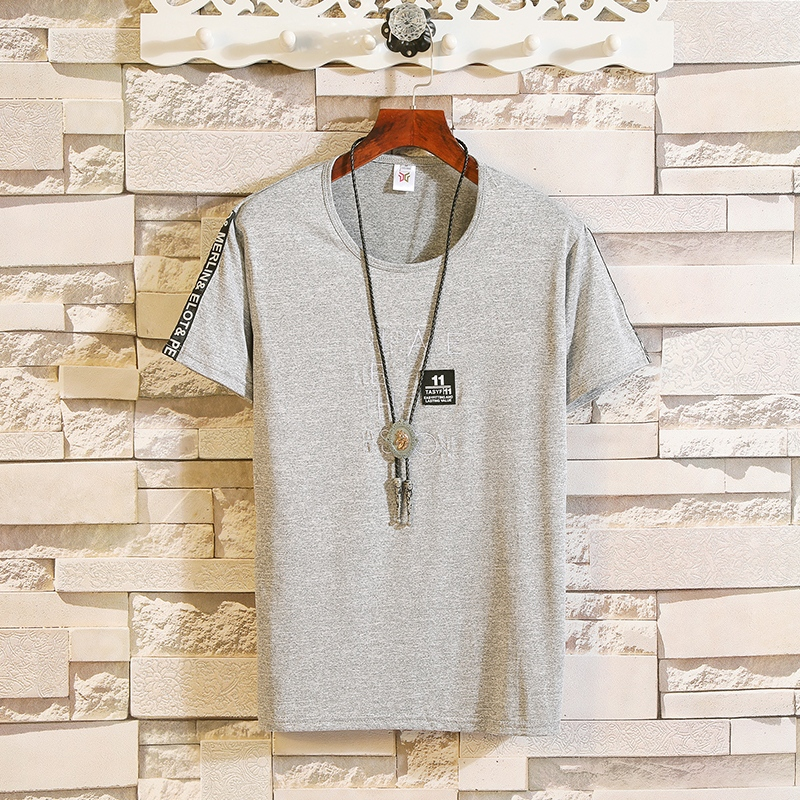 Men's short-sleeved T-shirts INS Korean version of the Japanese round collar ice-coated half-sleeved T-shirt MP98 2