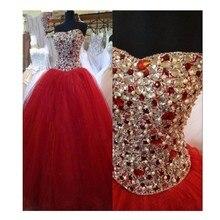 2016 heißer Verkauf Glamorous Ballkleid Schatz Lace-Up Zurück Lange Abendkleid Mit Perlen Dark Red Tüll Abend Kleider