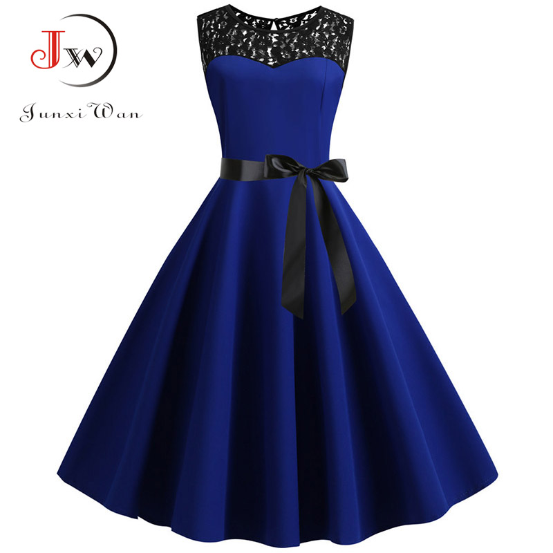 Blue Lace Patchwork Summer Dress Women Elegant Vintage Party Dress Casual Office Ladies Work Dress Plus Size(China)