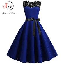 Blue Lace Patchwork Summer Dress Women 2019 Elegant Vintage Party Dress