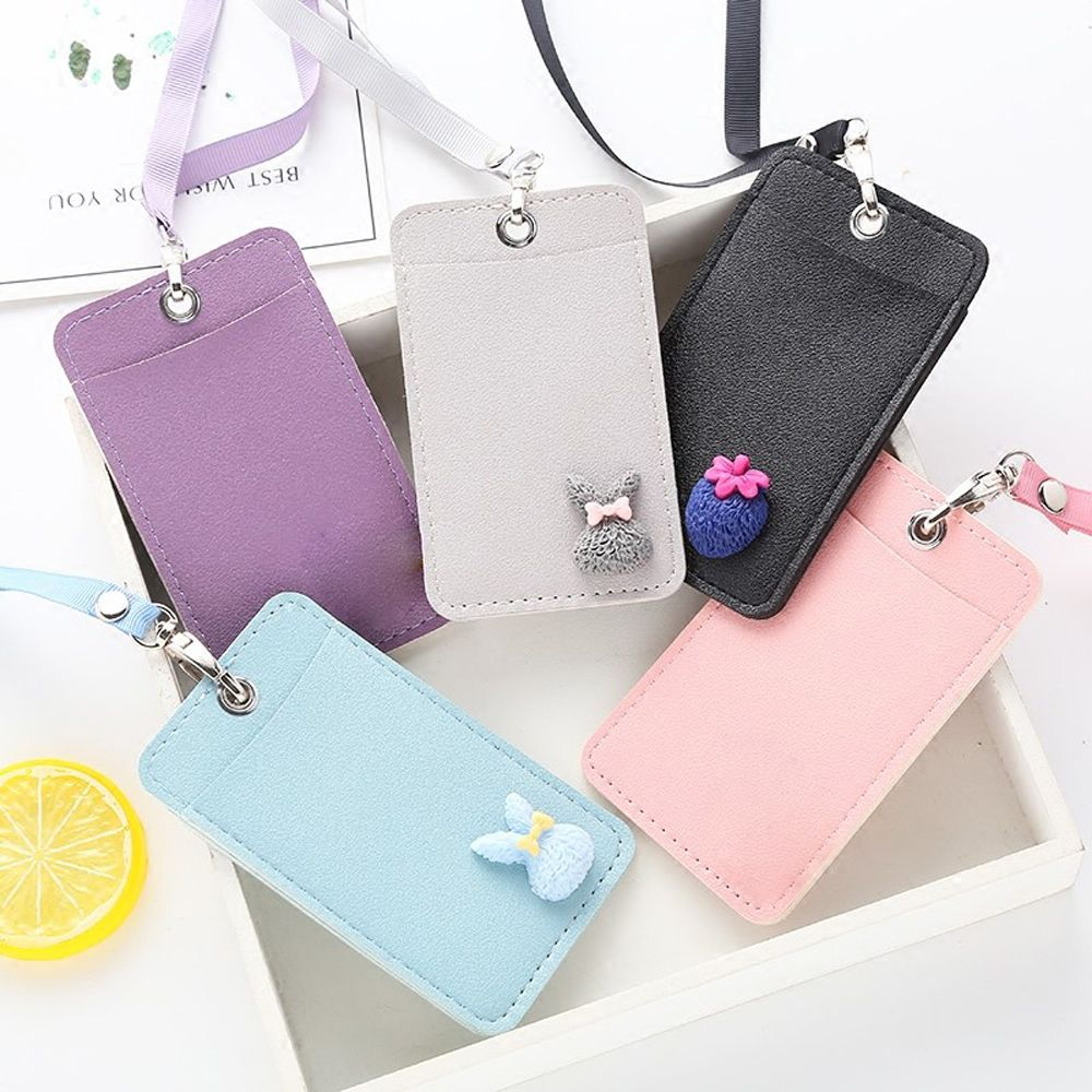 Card Holder & Note Holder Leather Card Holder Neck Strap With Lanyard Badge Holder Card Bus Id Name Tag Holders Business Card Holder Korea Stationary Consumers First Office & School Supplies