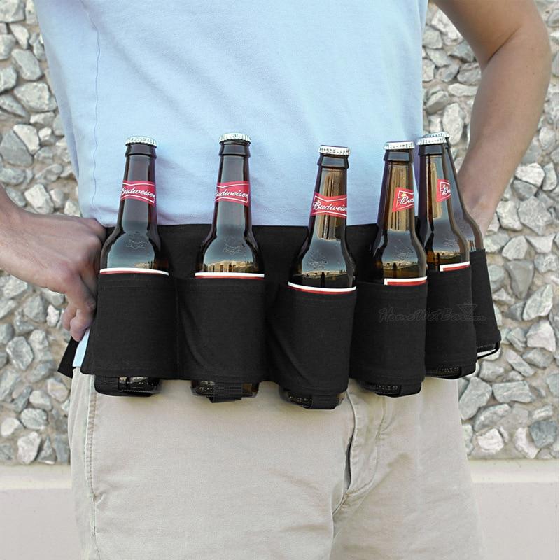 Neue 6 Paket Holster Tragbare Flasche Taille Bier Gürtel Tasche Handlich Weinflaschen Getränkedosenhalter