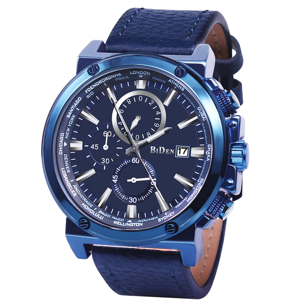 Men Watches Fashion Analogue Quartz Chronograph 3 ATM Waterproof Wrist Watch with Blue Genuine Leather BandMen Watches Fashion Analogue Quartz Chronograph 3 ATM Waterproof Wrist Watch with Blue Genuine Leather Band