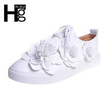 HEE GRAND Women Flats Lace up Fashion Flower Shoes Woman Classic White Sweet Autumn Platform Hot Sale Daily Girls' Shoes XWC1196