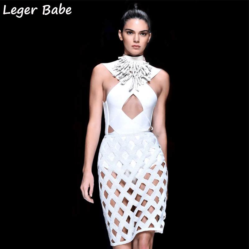 2019 Runway Fashion Show Sexy Inspired Hole Grid Cut Out dress White knitted Plaid dress Celebrity Party Bandage Dresses Women