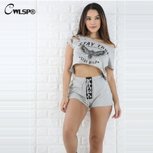 CWLSP 2017  T shirt women  2 pieces / set O-Neck Tied rope  harajuku Women Tops gray one shoulder hole crop top T Shirt QZ2093