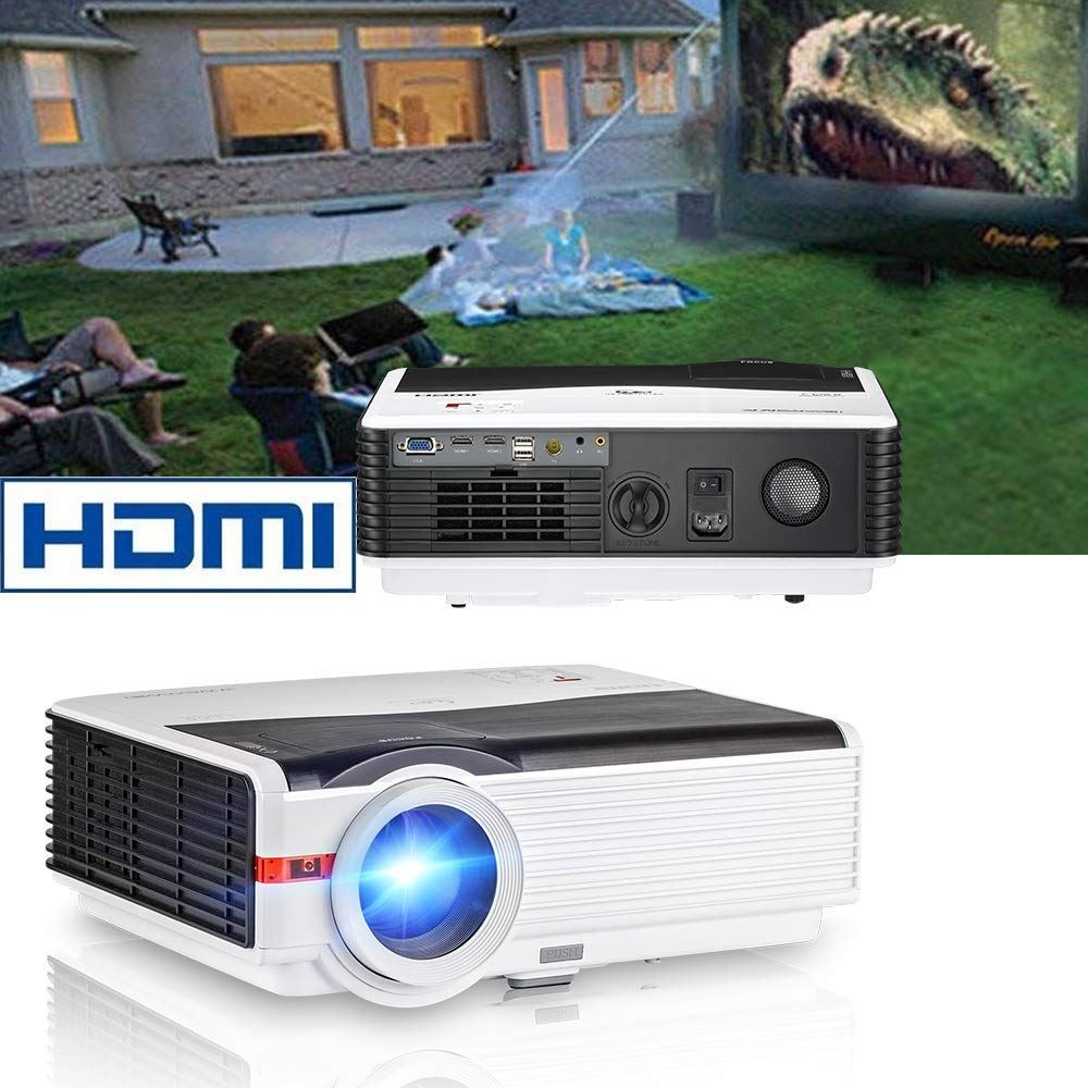 CAIWEI HD Vidéo Projecteur 5000 Lumens Luminosité avec 200 Max Affichage Mobile Home Cinéma Beamer Film Jeu TV Proyector