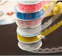 1Roll New Novelty DIY Lace Mini Candy Color Flower Washi Tapes Masking Tape Decorative Adhesive Tapes School Supplies E0423