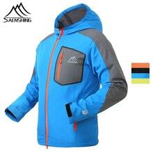 SAENSHING Men Softshell Jacket Waterproof Windproof Mtb Cycling Jacket Warm Fleece Clothing Rain Jackets