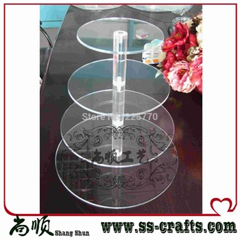 4 tier round maypole 5mm thick clear acrylic wedding & party fairy cupcake display stand, 4 tier round acrylic cupcake stand