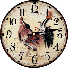 hot deal buy vintage cock design wall clocks for balcony living room home decorative animal watches  wall art retro large wall clocks