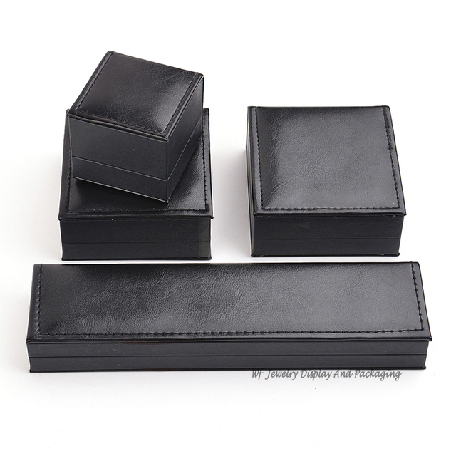 High Quality Black Leather Jewelry Box Gift Ring Packaging Box