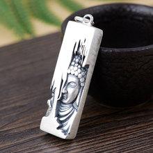 FNJ 925 Silver Figure Pendant Lotus Flower Buddha 100% Pure S990 Original Thai Silver Pendants for Women Men Jewelry Making