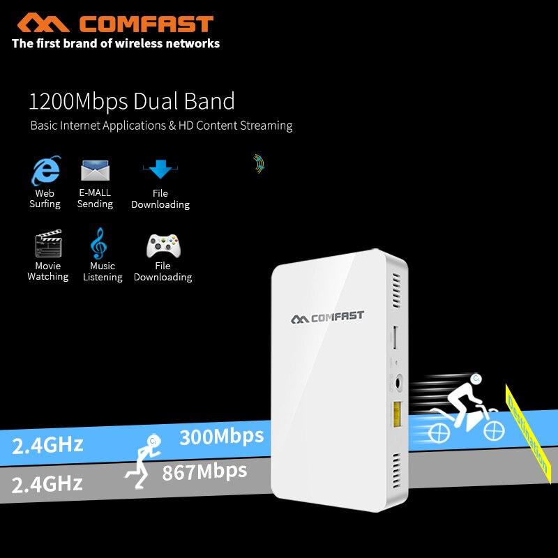 1200 Mbps double bande gigabit sans fil dans le mur AP 5.8G 802.11ac 48 V POE & DC routeur wifi sans fil avec 4 * RJ45 port LAN mini commutateur