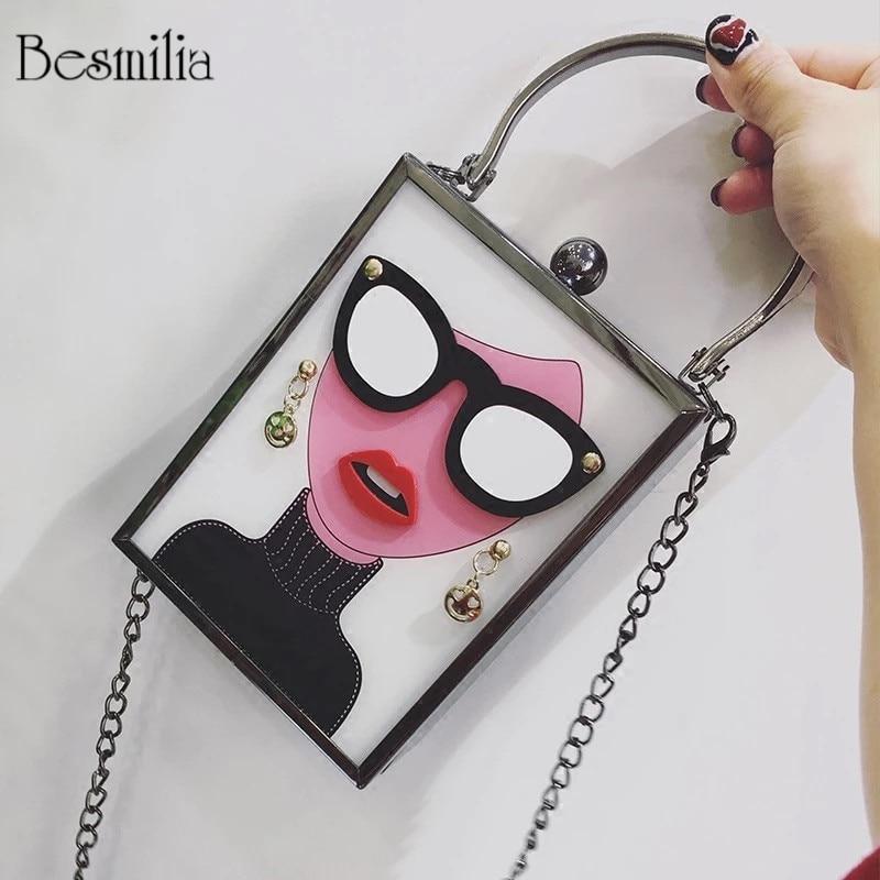 Women's Handbag Box-Bag Acrylic-Clutch Cartoon Purse Chain Messenger-Bag Fashion Patten